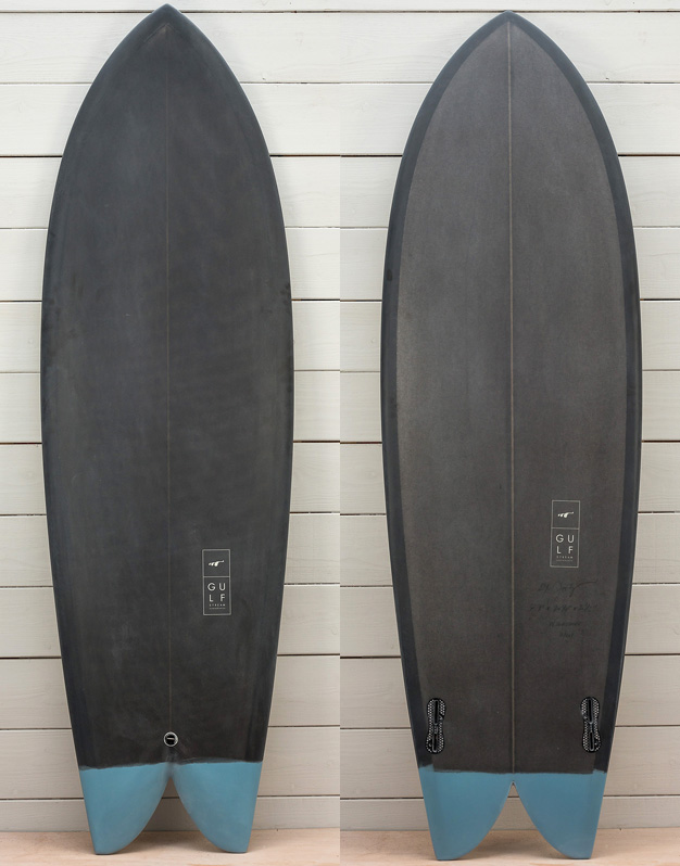 5'8 Keel Fin Charcoal with blue tail dip 1