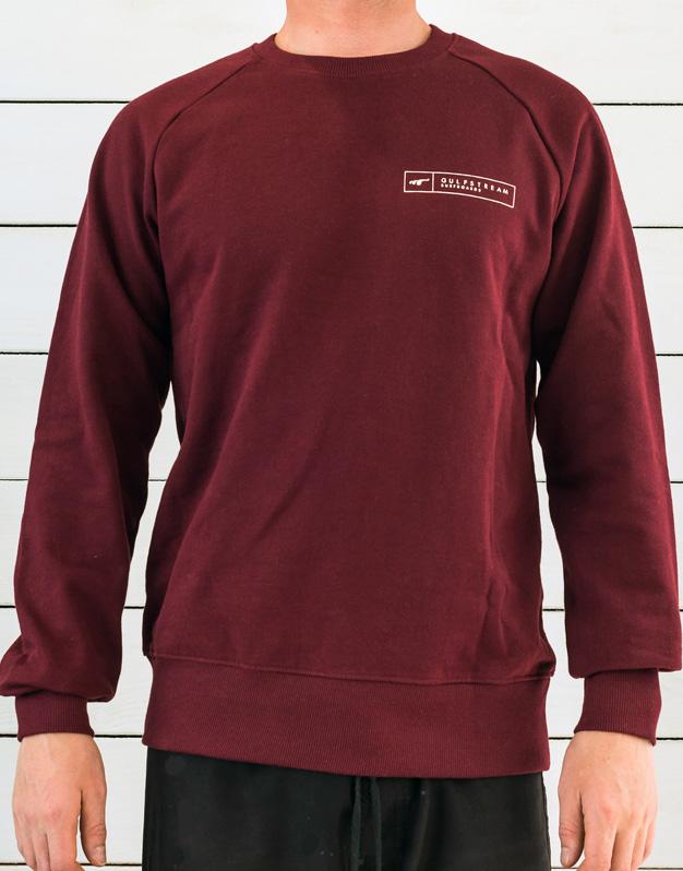 Burgundy longboard logo raglan sweatshirt front