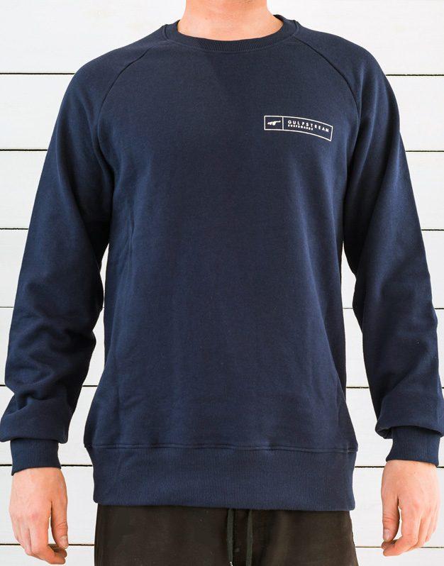 Navy blue longboard logo raglan sweatshirt front