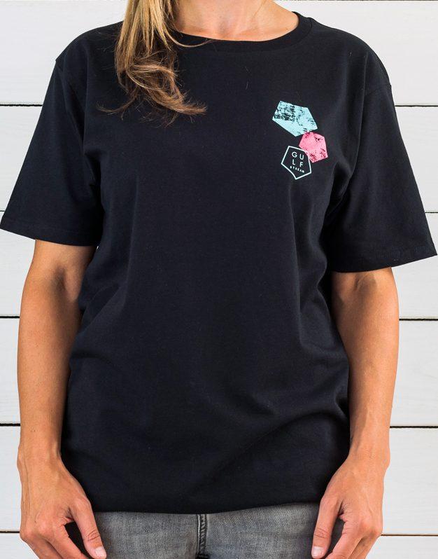 Black shortboard logo front print