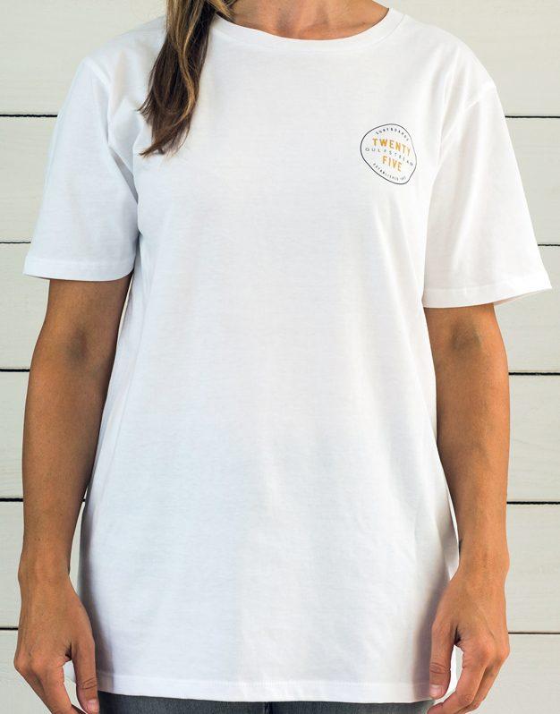 white anniversary logo t-shirt front